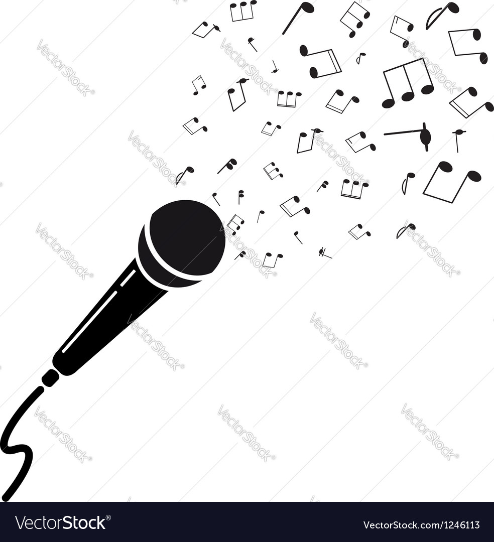 Microphone black silhouette with notes A isolated Royalty Free.
