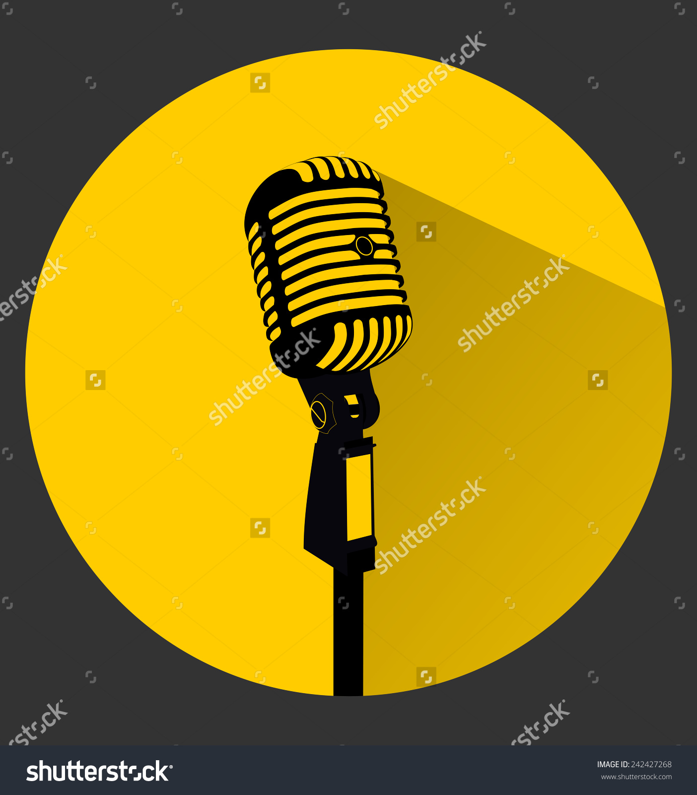 Vintage Black Silhouette Retro Stage Microphone Stock Vector.