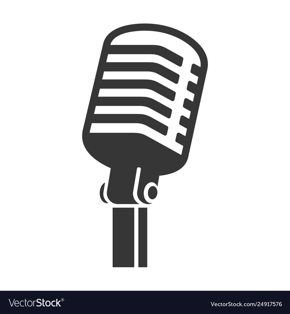 Old style vintage microphone icon on white.