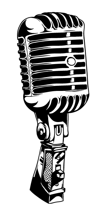 Vintage Microphone Stand Clip Art.