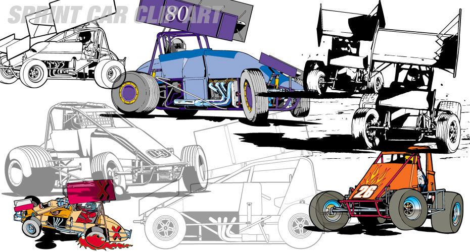 Sprint Car Clip Art.