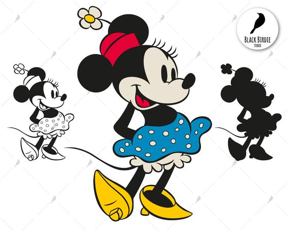 Retro Minnie Mouse svg, Minnie Mouse clipart, Minnie svg.