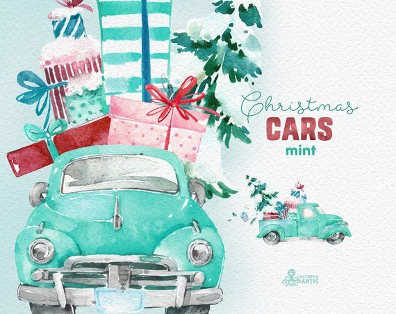 Christmas Cars Mint. Watercolor holiday clipart, vintage.