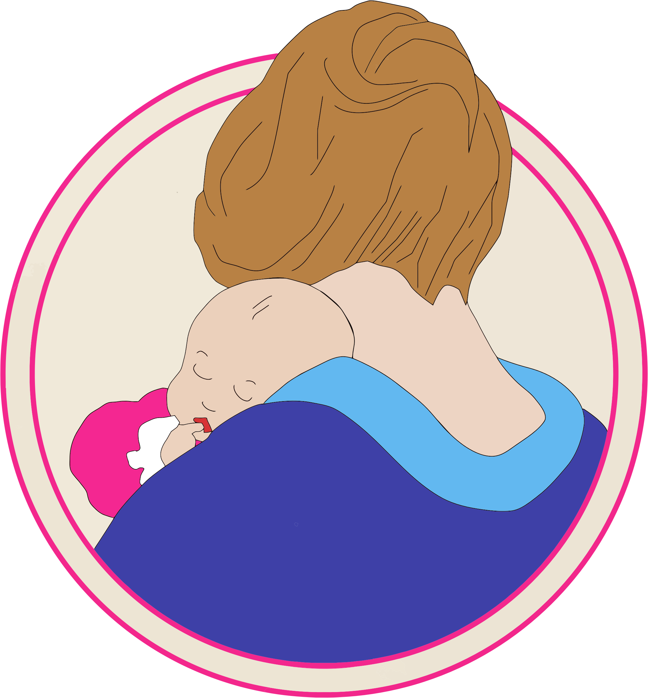 Vintage Mother And Child Clipart.