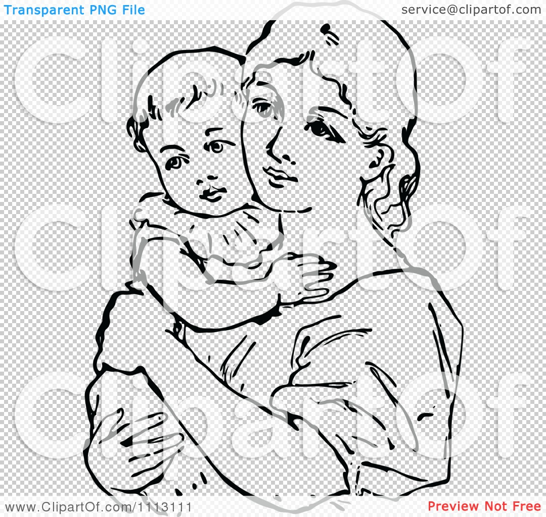 vintage mother and child clipart #7
