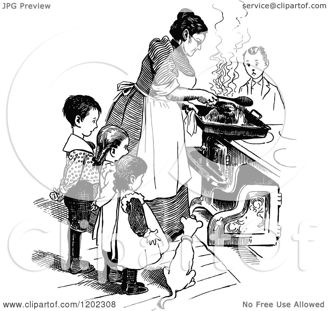 vintage mother and child clipart #2