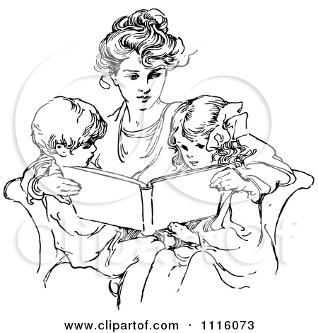 vintage mother and child clipart #14