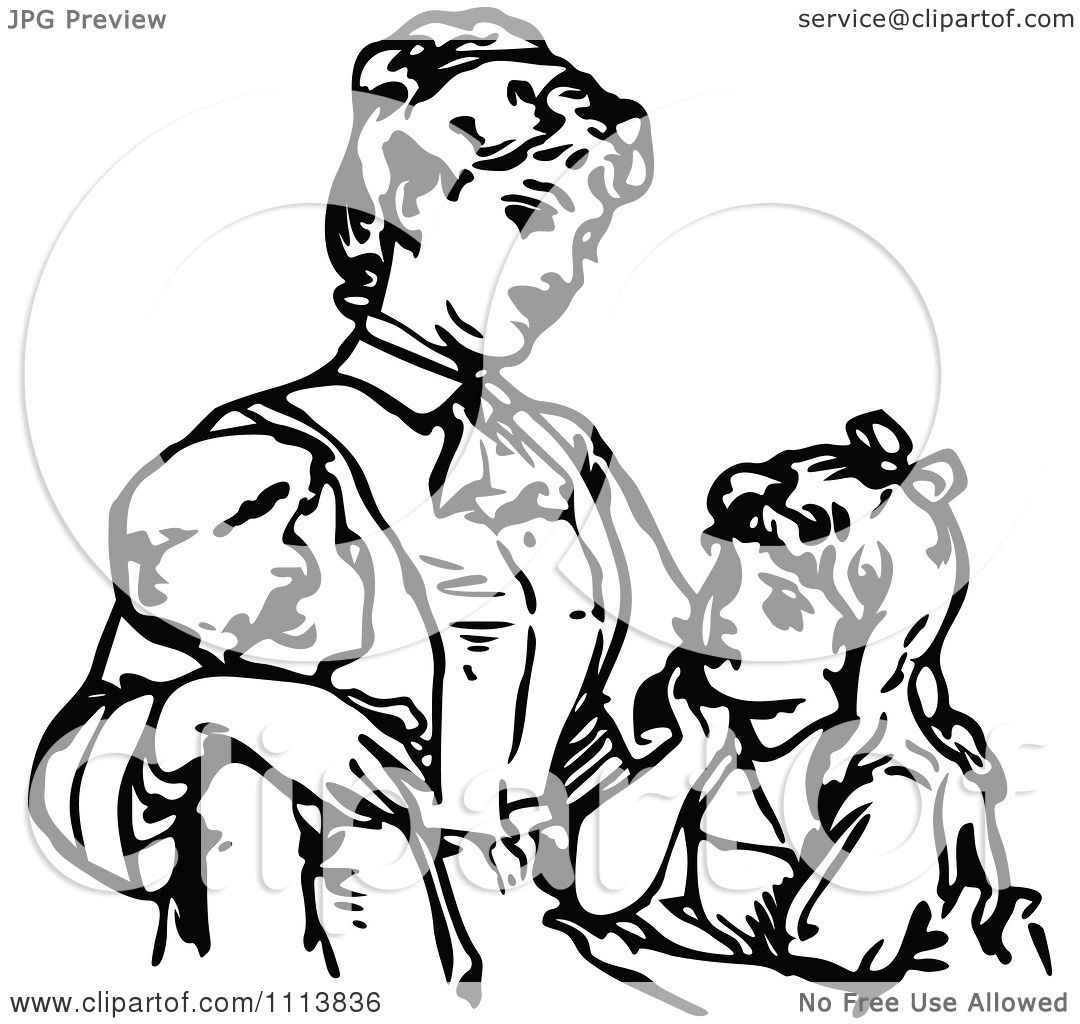 Clipart Vintage Black And White Mother And Children.