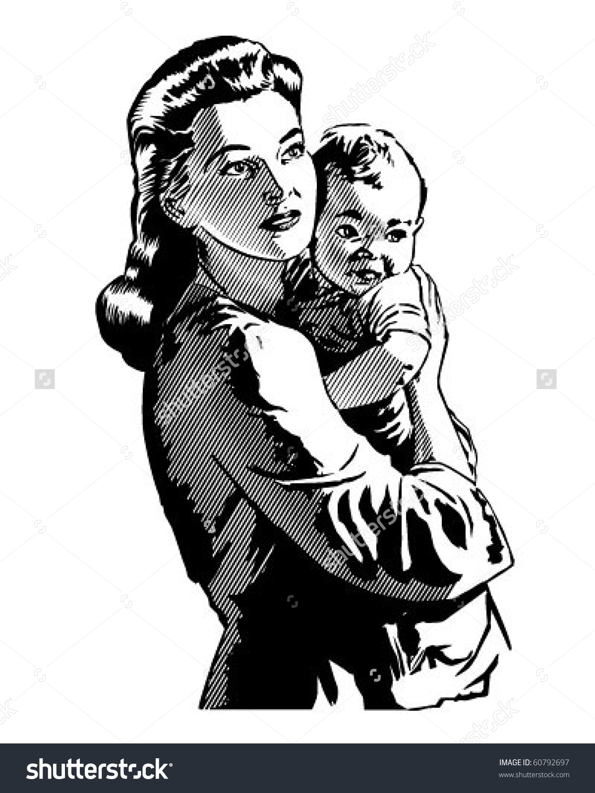 vintage mother and child clipart #16