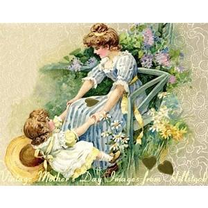Vintage Mother's Day Stock Art Illustration Clip Art Images.