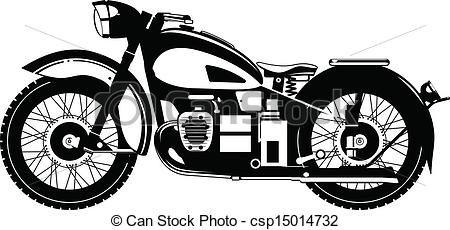 Vintage Motorcycle Clipart Black And White.