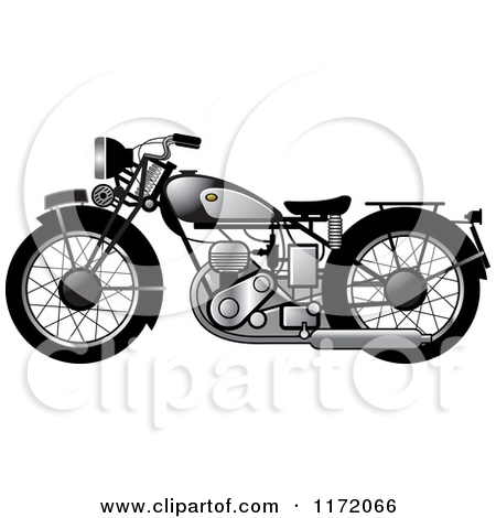 Clipart of a Blue Vintage Motorcycle.
