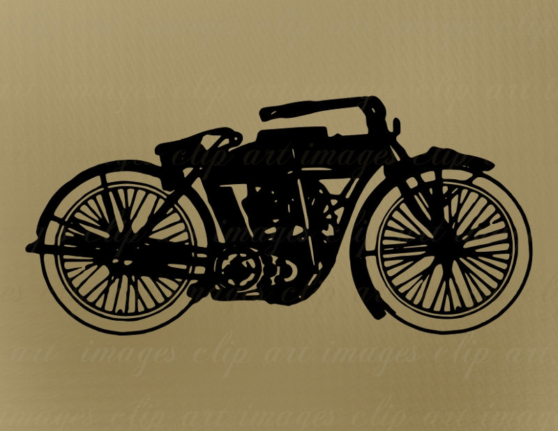 Vintage motorcycle clipart.