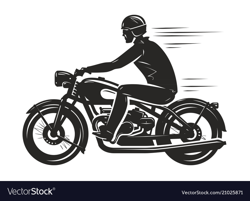 Biker rides a retro motorcycle silhouette.