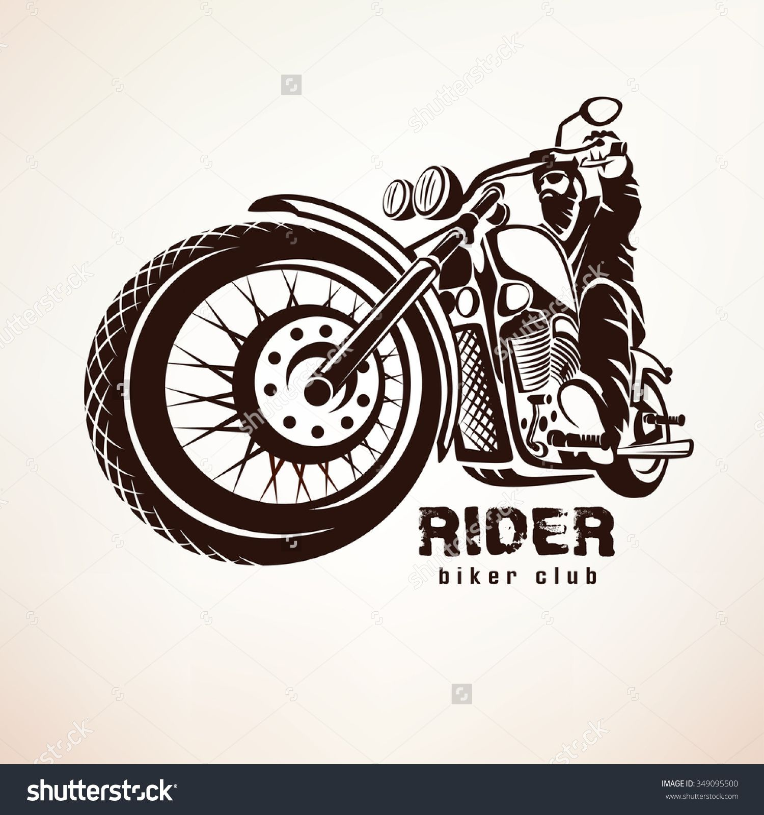 Biker, Motorcycle Grunge Vector Silhouette, Retro Emblem And.
