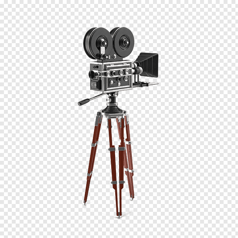 Grey and red film maker, Tripod graphic film Movie camera.