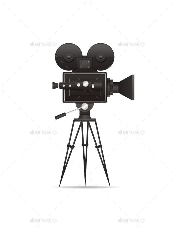 Vintage movie/film camera vector illustration. EPS10 layered file..