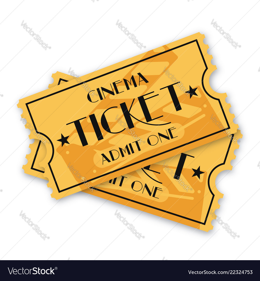 Two cinema ticket isolated on background vintage.