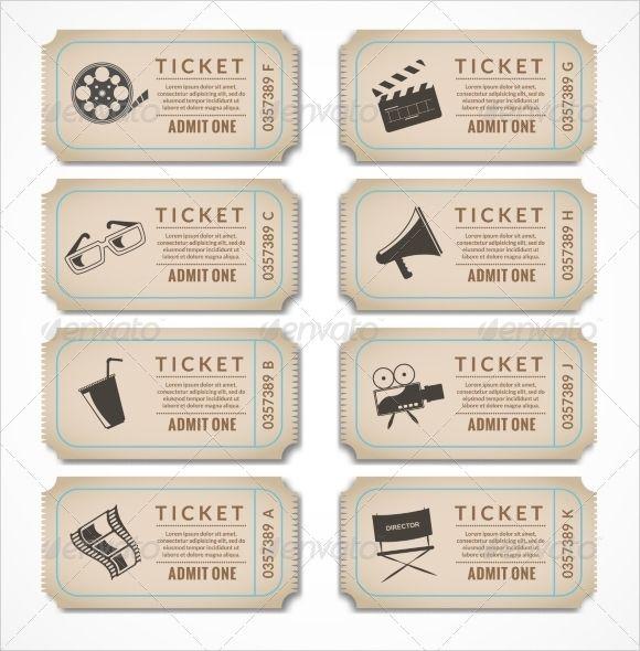 vintage movie ticket template.