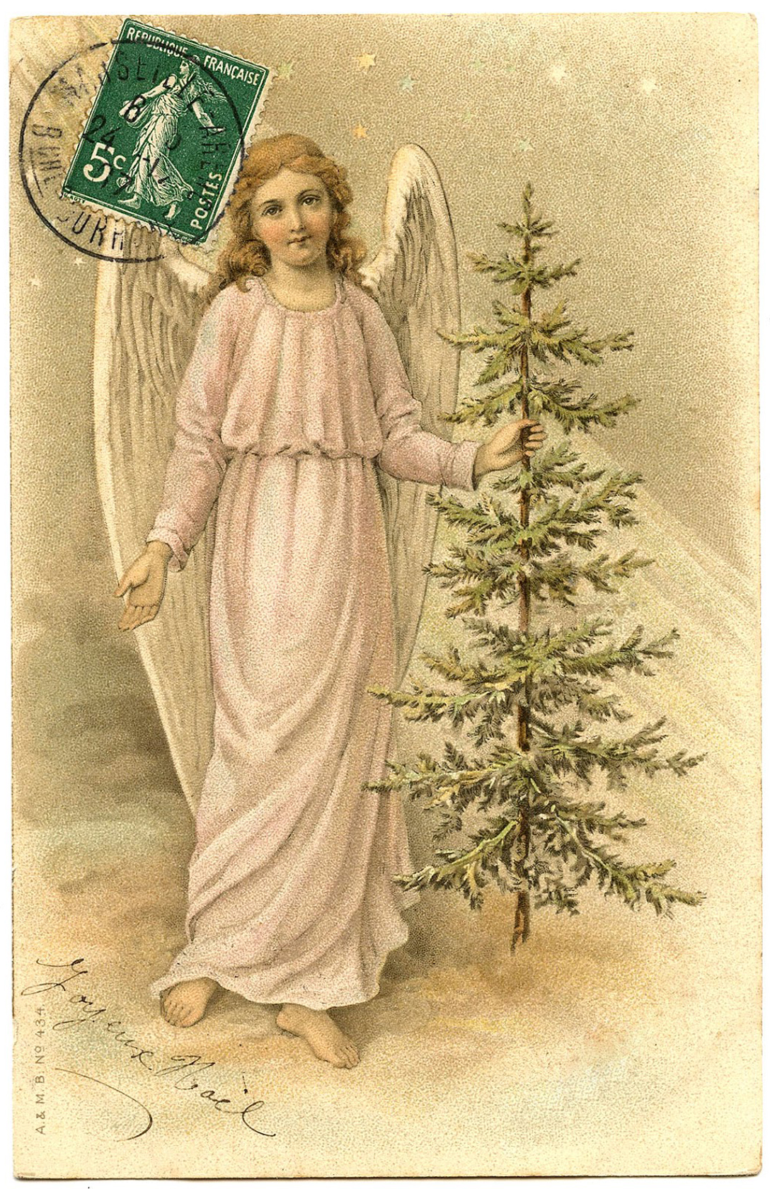 6 Angels with Christmas Trees Clipart!.
