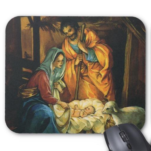 Vintage Nativity Scene Clipart.