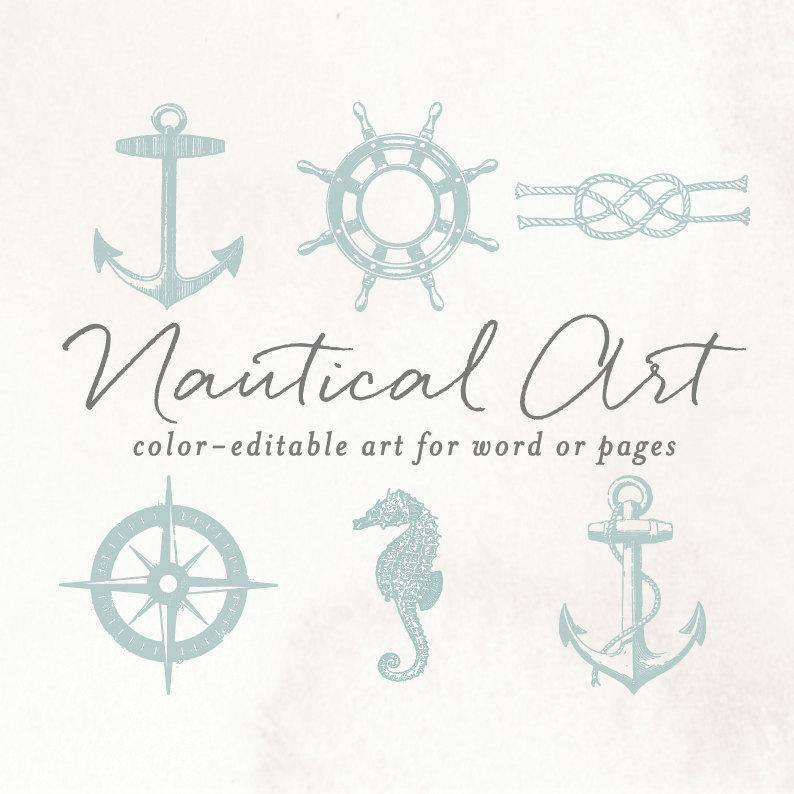 Vintage Nautical Anchor Clip Art For Word Or Pages, Wedding.