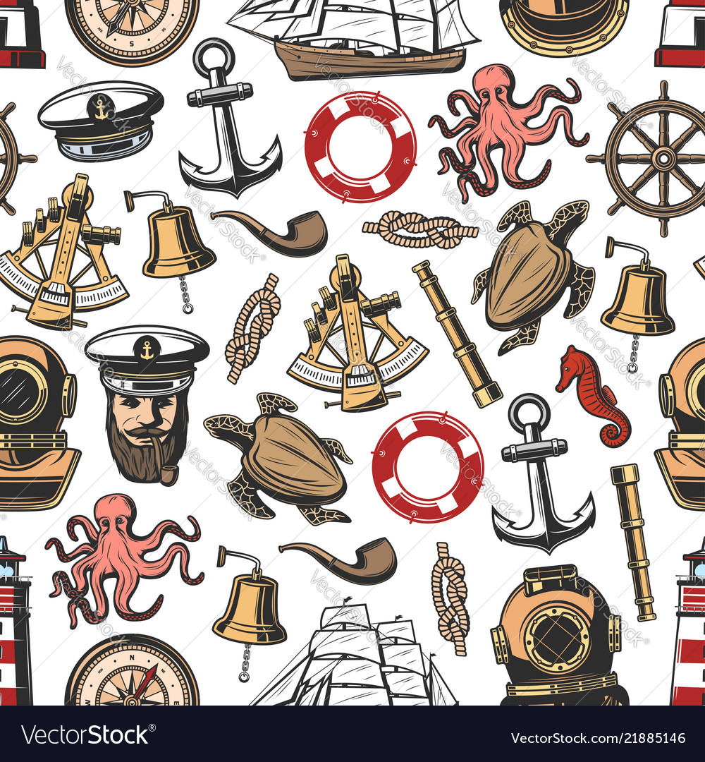 Vintage nautical seamless pattern.