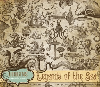 Vintage Nautical Clipart, Mermaids, Sea Monsters, Antique Ocean Creatures.