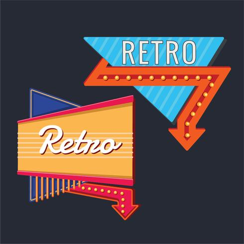 Template Set of Vintage Signs with Neon Arrow.