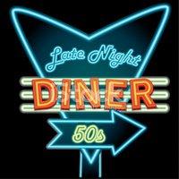 Late Night Retro Diner Neon Sign Stock Vector.