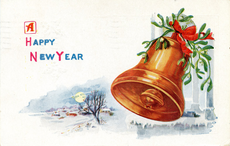 Vintage Happy New Year Clipart.