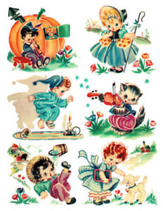 Details about Vintage Image Retro Children Nursery Rhymes Transfers  Waterslide Decals AN837.