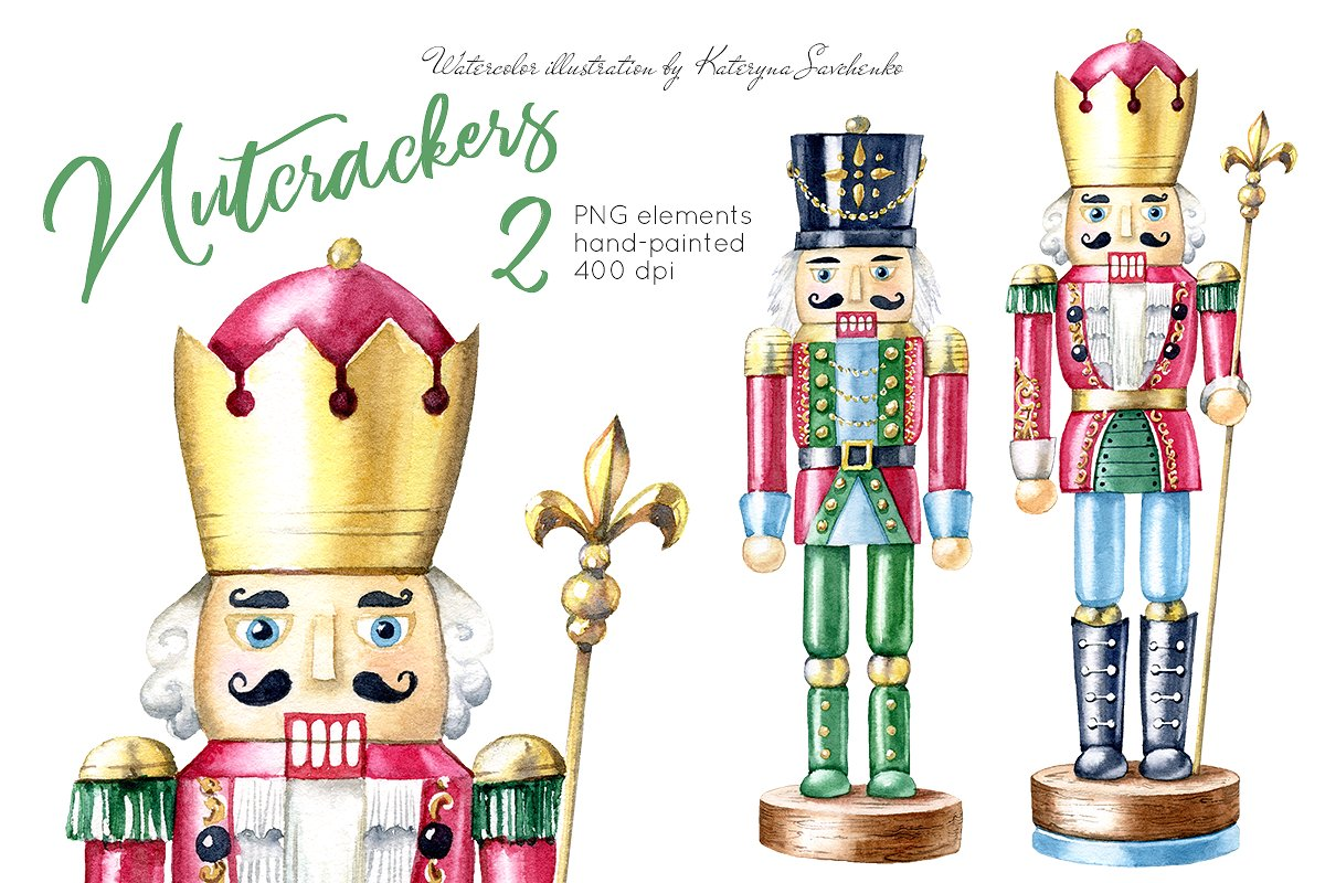 Nutcrackers. Watercolor Christmas.