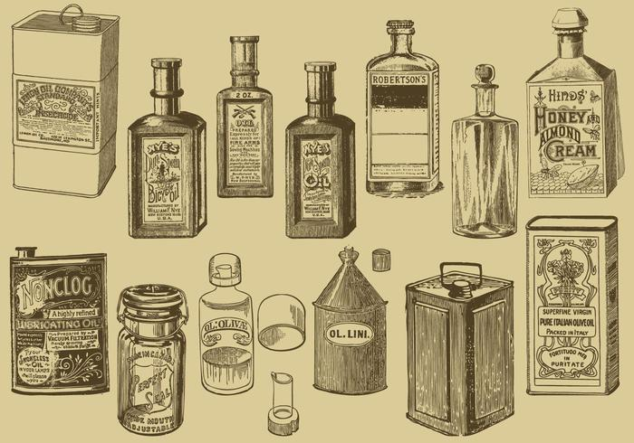 Vintage Oil Bottles And Cans.