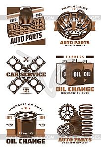 Car service retro icon with vintage auto parts.
