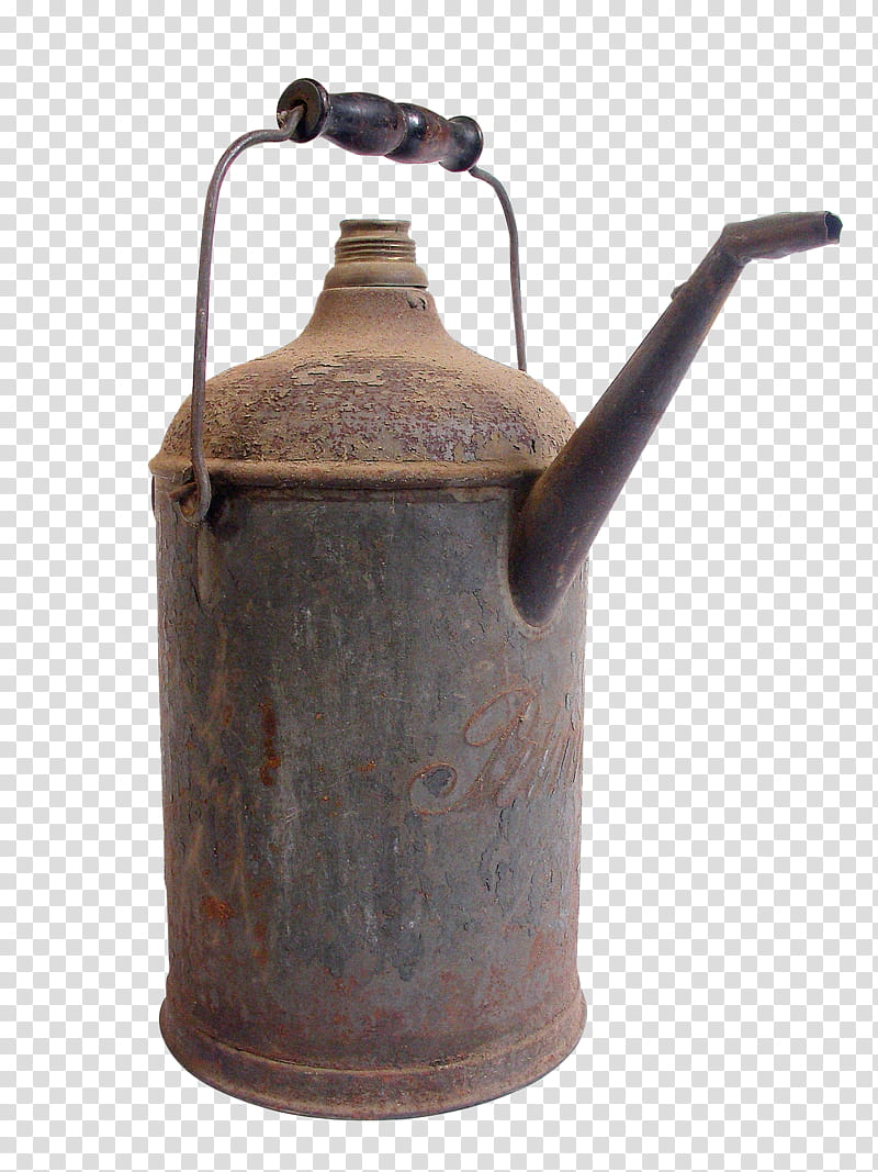 Old oil can , brown canister transparent background PNG.