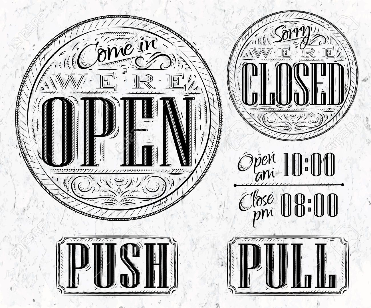Vintage open/closed signs.