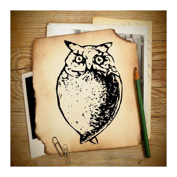 Digital Vintage Graphic Antique Owl Clipart Clip by.