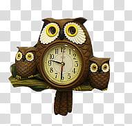 Vintage s, brown owl accent analog clock illustration.