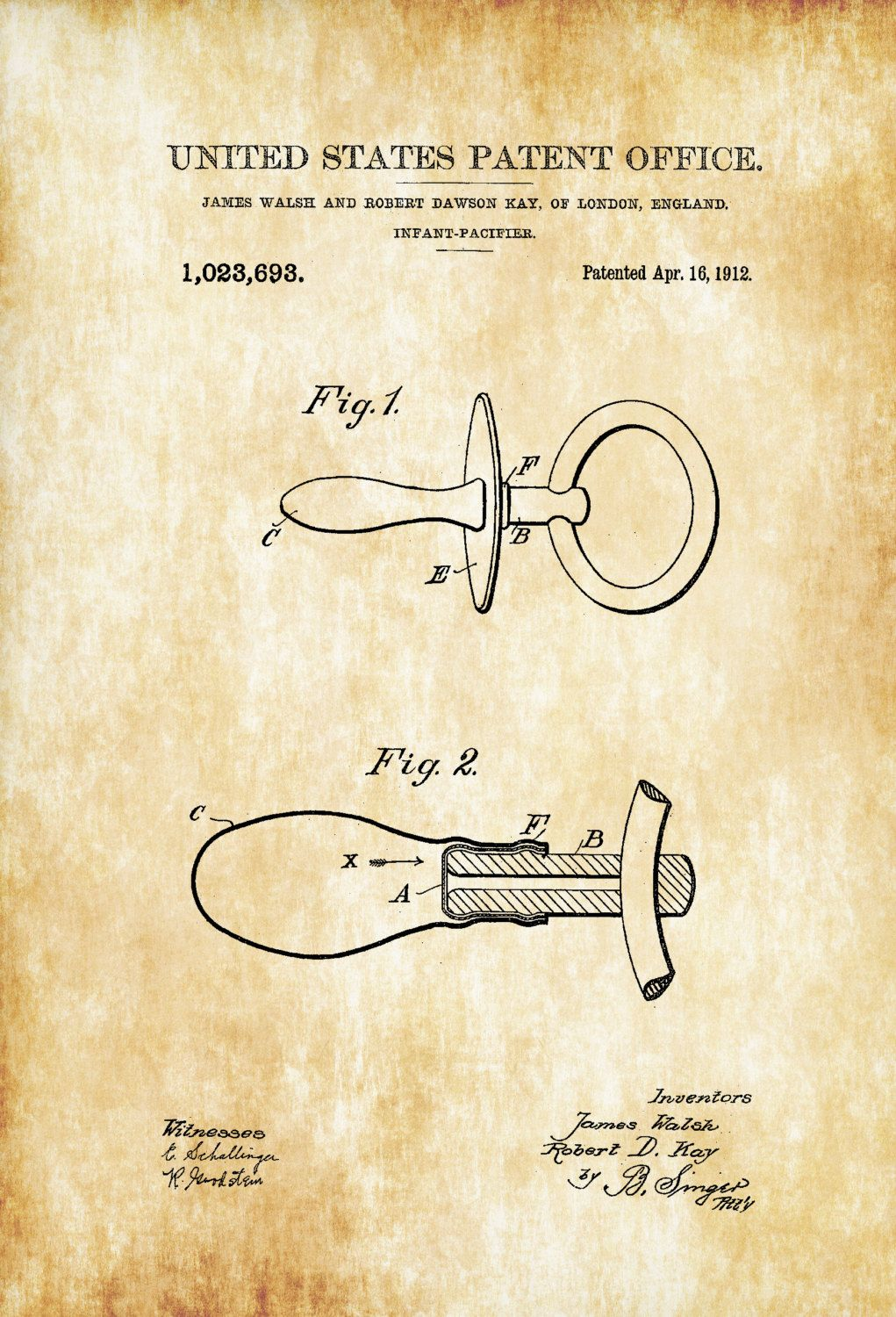 1912 Pacifier Patent.