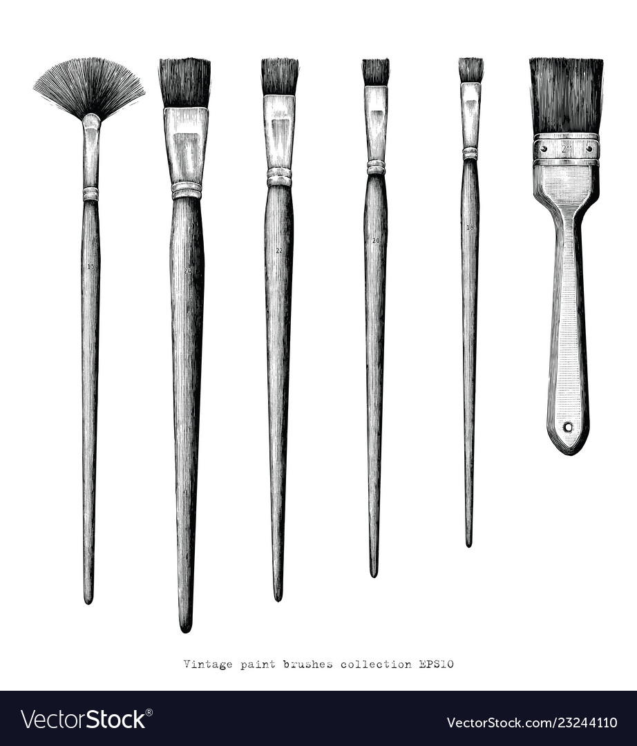 Vintage paint brushes set hand drawing clip art.