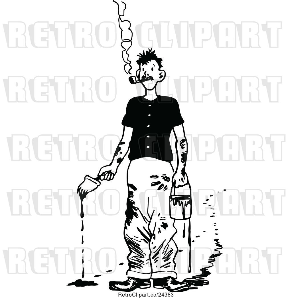 Vector Clip Art of Retro Smoking Messy Painter by Prawny.