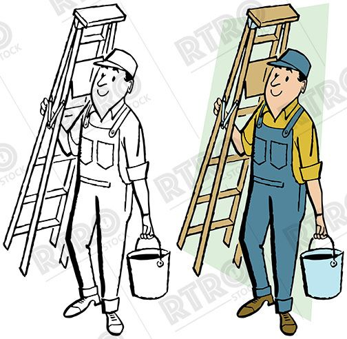 A painter in overalls carrying a bucket of paint and a.