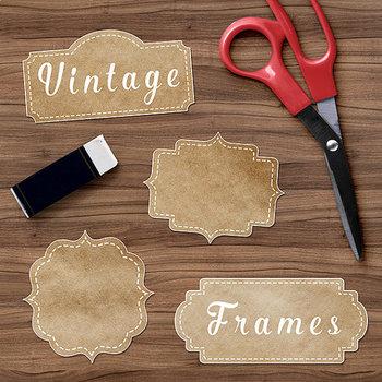 Vintage Frame Clipart, Vintage Kraft Paper Borders.