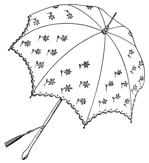 vintage parasol clipart, black and white graphics, umbrella.