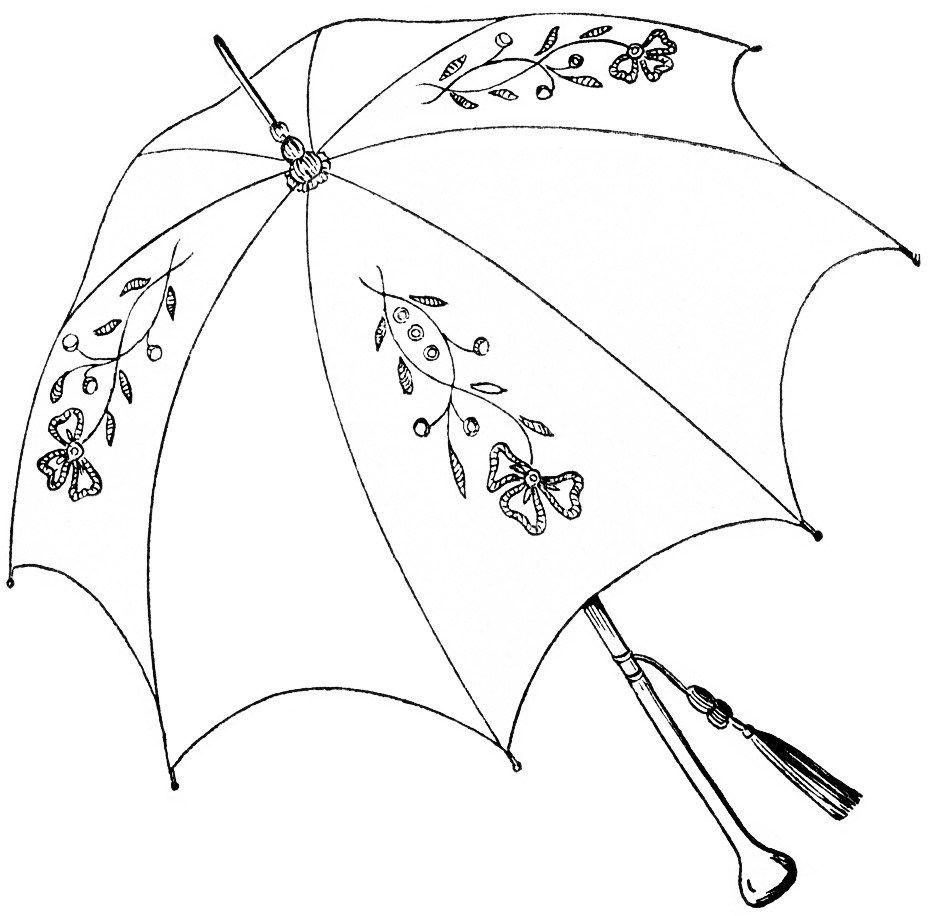 vintage parasol clipart, antique clip art umbrella, parasol.