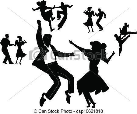 Vector Clip Art of dance party.