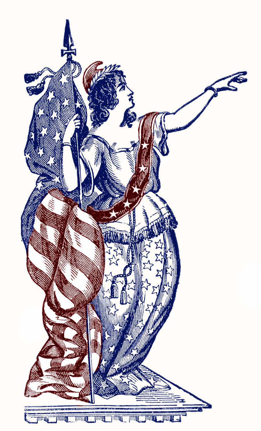 Vintage patriotic clip art lady liberty 4th of july the.