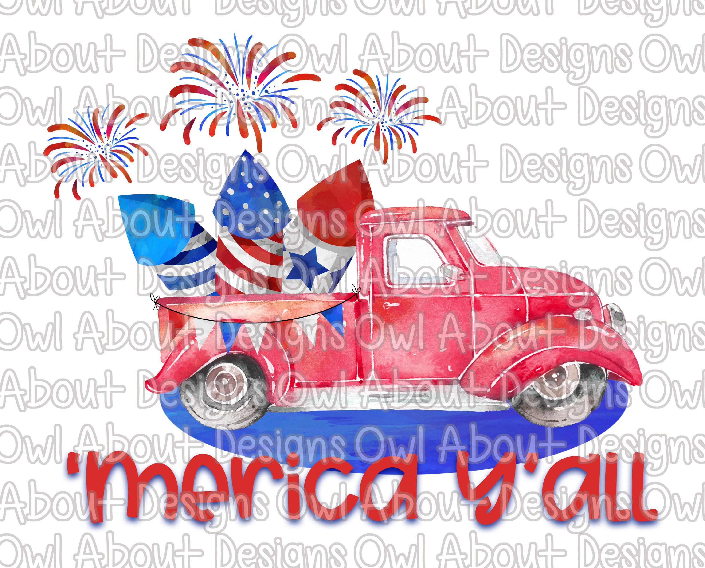 Merica Yall Digital Download. American. Watercolor. Truck.