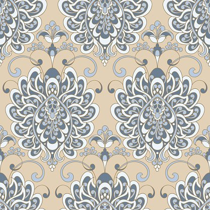 Vector textured print. Damask Seamless vintage pattern.